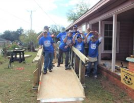 Happy ramp build volunteer crew