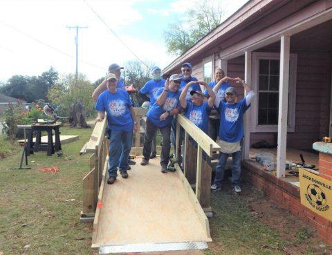Happy ramp build volunteer crew